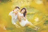 Couple together spending great time in garden — Stock Photo