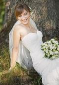 Emotional portrait of caucasian happy bride — Stock Photo