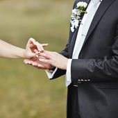 Hands of wedding couple putting golden rings — Stock Photo