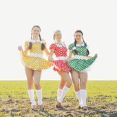 Three funny attractive females wearing dresses, posing in field — ストック写真