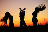 Silhouettes of young women against sunset sky — Zdjęcie stockowe