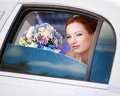 Bride in white limo — Photo