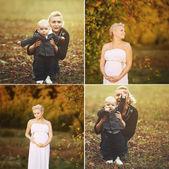 Collage gravid kvinna och mor — Stockfoto