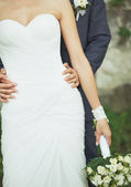 Young wedding caucasian couple. Groom and bride together. — Stock Photo