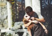 Teen couple bonding, posing together. — Stock Photo