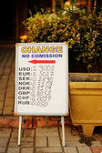 Currency exchange rates board at street. — Foto Stock