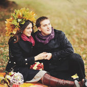 Great relationship. Young sweet couple having date in autumn park. — Stock Photo