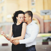 Young couple having date downtown. — Stock Photo