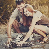 Me, my girlfriend and my cat. — Stock Photo