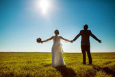 Groom and bride on wedding day. — Stock Photo