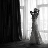 Svart och vitt bröllopsbild. — Stockfoto