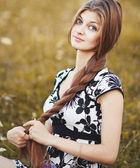 Long hair gorgeous woman — Stock Photo