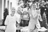 Happy newlywed young caucasian couple — Stock Photo