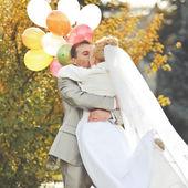 Young caucasian wedding  couple — Stock Photo