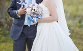 Happy newlywed young caucasian couple — Stok fotoğraf