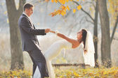 Loving newlywed couple outdoor. — Stock Photo