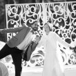 Black and white picture of happy wedding couple together. — Stock Photo #51334677