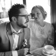 Black and white picture of happy wedding couple together. — Stock Photo #51334699