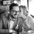Black and white picture of happy wedding couple together. — Stock Photo