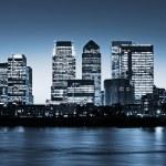 Canary Wharf at twilight — Stock Photo