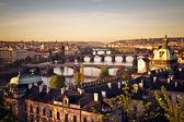Prague at sunrise — Stock Photo