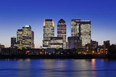 Canary Wharf at twilight — Stock Photo