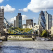 London skyline seen from the River Thames — Stock Photo