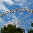 Stock Photo: Ferris wheel above trees in Tuileries gardens in summer.