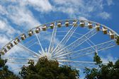Ferris wheel above the trees in the Tuileries gardens in summer. — Stock Photo