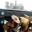 Stock Photo: Love locks bridge in Paris