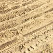 Royalty-Free Stock Photo: The trace of a tyre in the sand. Diagonal.