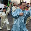 Chinese martial arts on opening of Moon festival at Paris - Stock Photo
