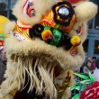Traditional Dragon dance on opening of Moon festival at Paris — Stock Photo