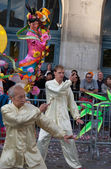 Chinese martial arts on opening of Moon festival at Paris. Tai Chi — Stock Photo
