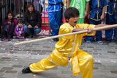 Chinese martial arts on opening of Moon festival at Paris — Stock Photo
