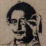 Постер, плакат: Salvador Dali graffiti portrait with starfish and spider