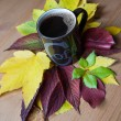 Cup of coffee with inscription. Autumnal decoration. — Stock Photo