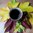 Cup of coffee. Autumnal decoration. — Stock Photo
