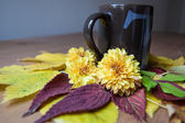 Tea cup with tea inscription with autumnal setting. — Stock Photo