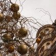 Branches with gold and silver Christmas balls. Building and grey sky on background. Paris at evening. — Stock Photo #17223173