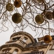 Closeup of branches with gold and silver Christmas balls. Building and grey sky on background. Paris at evening. — Stock Photo #17223539