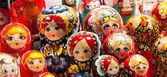 Russian toy matryoshka background. — Stock Photo