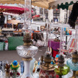 PARIS - DECEMBER 29: Three beautifully ornate kerosene lamps for sale at flea market on December 29, 2012 in Paris, France. There are almost 20 flea markets in Paris. — Foto Stock