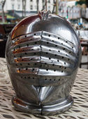 Iron helmet of the medieval knight at flea market in Paris. — Stock Photo