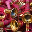 Vintage toy trumpets at flea market. — Stock Photo #26012883