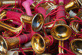 Vintage toy trumpets at flea market. — Stock Photo