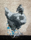 Chicken graffiti on the wall as seen — Stock Photo