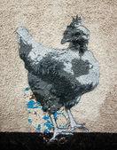 Chicken graffiti on the wall as seen — Stok fotoğraf