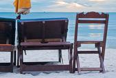 Wooden beach chair — Stock Photo