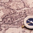 Compass on the world map — Stock Photo